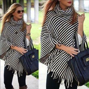Sweaters - Striped poncho, black & ivory stripes